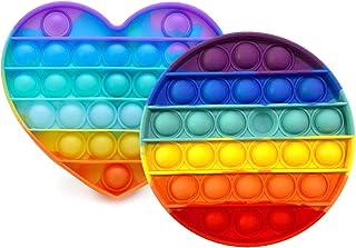 PHONILLICO Fidget Toy Silicone Rond et Coeur Multi-Couleurs Jeu Anti Stress Push Jouet Toys Bubble