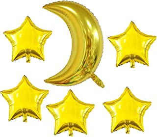 Gold Moon Shaped Foil Mylar Balloons Gold Star Shape Foil Mylar Balloons Pentagram Balloon 36Inch 18Inch Graduation Baby Shower Bridal Shower Engagement Birthday Party Wedding Anniversary Decoration