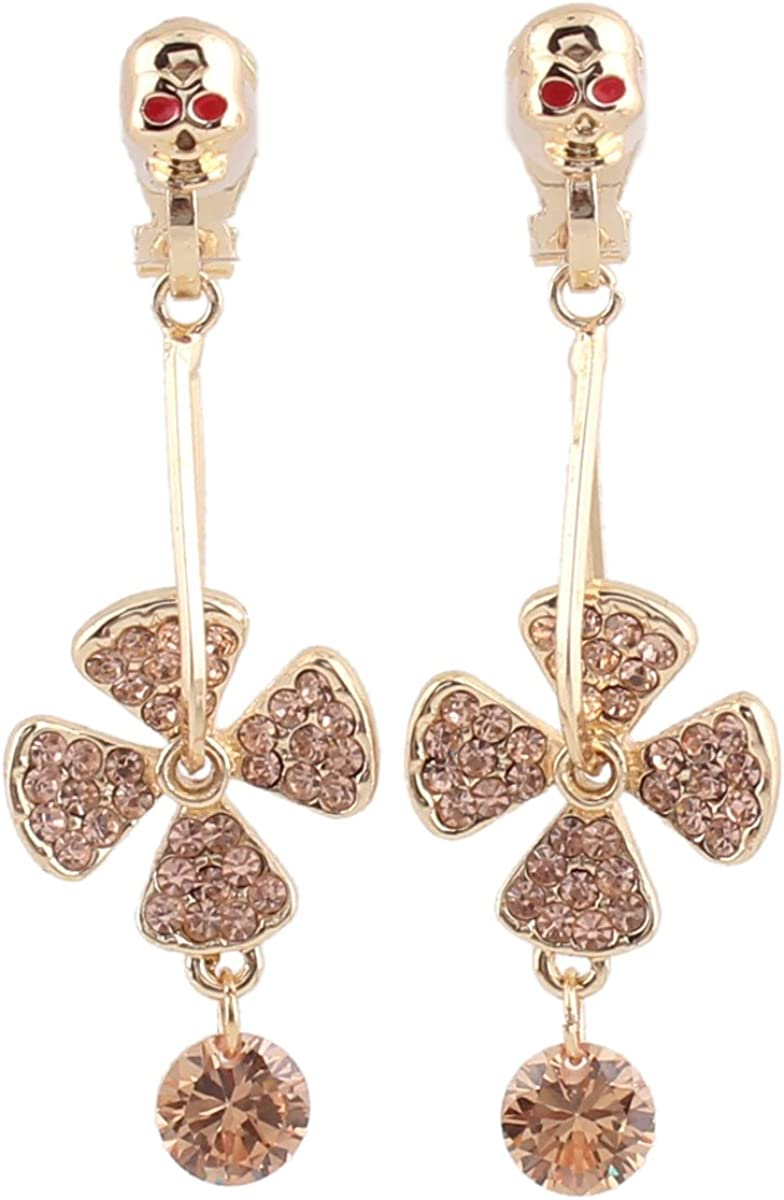 Rhinestone Crystal Gold Plated Skeleton Clover Clip on Earrings Charm Drop Earrings No Pierced Earrings