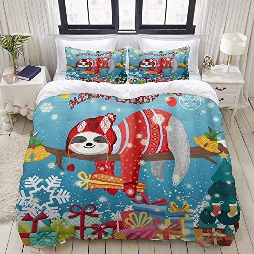 Funda nórdica, Sloth Funny Sloth Floral Dream Blue Holiday, Juego de Ropa de Cama Juegos de Microfibra de Lujo Ultra cómodos y livianos