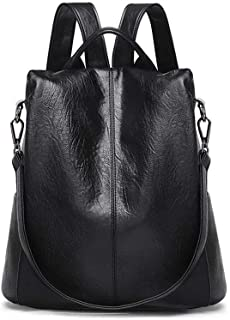 Anti-theft Female Backpack, DRENECO Ladies Leather Backpack Casual Travel Bag Daypack School Backpacks Satchel