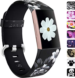 Ouwegaga Compatible for Fitbit Charge 3 Band Women Men Small Floral Fairy