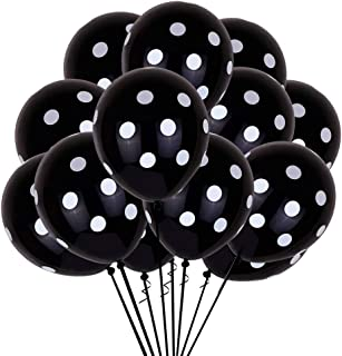 TONIFUL 100pcs 12inch Polka Dots Balloons Black Latex Balloons with White Polka Dot Balloons for Wedding Birthday Party Festival Decoration Supplies
