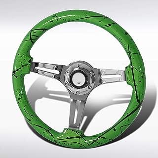 Autozensation Universal 350mm Green&Black Art Chrome 3-Spoke Sport Wooden Steering Wheel
