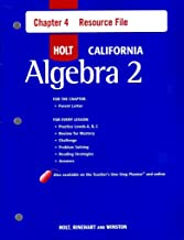 Holt Algebra 2 California: Chapter 4 Resource File with Answers Algebra 2