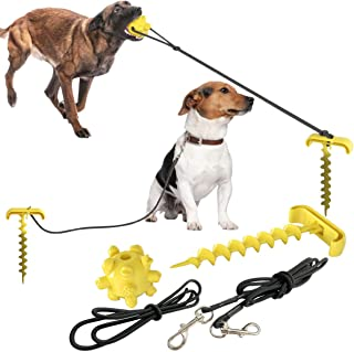 "Dog Tie Out Cable and Stake, 10.19"" Sturdy Stake for Dog Tie Out with Dog Chew Toy and Elasticity Dog Chain for Camping Ba..."