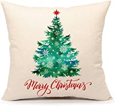 4TH Emotion Green Merry Christmas Tree and Snowflake Throw Pillow Cover Cushion Case for Sofa Couch 18 x 18 Inch Cotton Linen