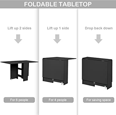 XINQITE Drop Leaf Dining Table for Dining Room Kitchen, Extendable Butterfly Console Table Folding Table for Small Spaces, Fo