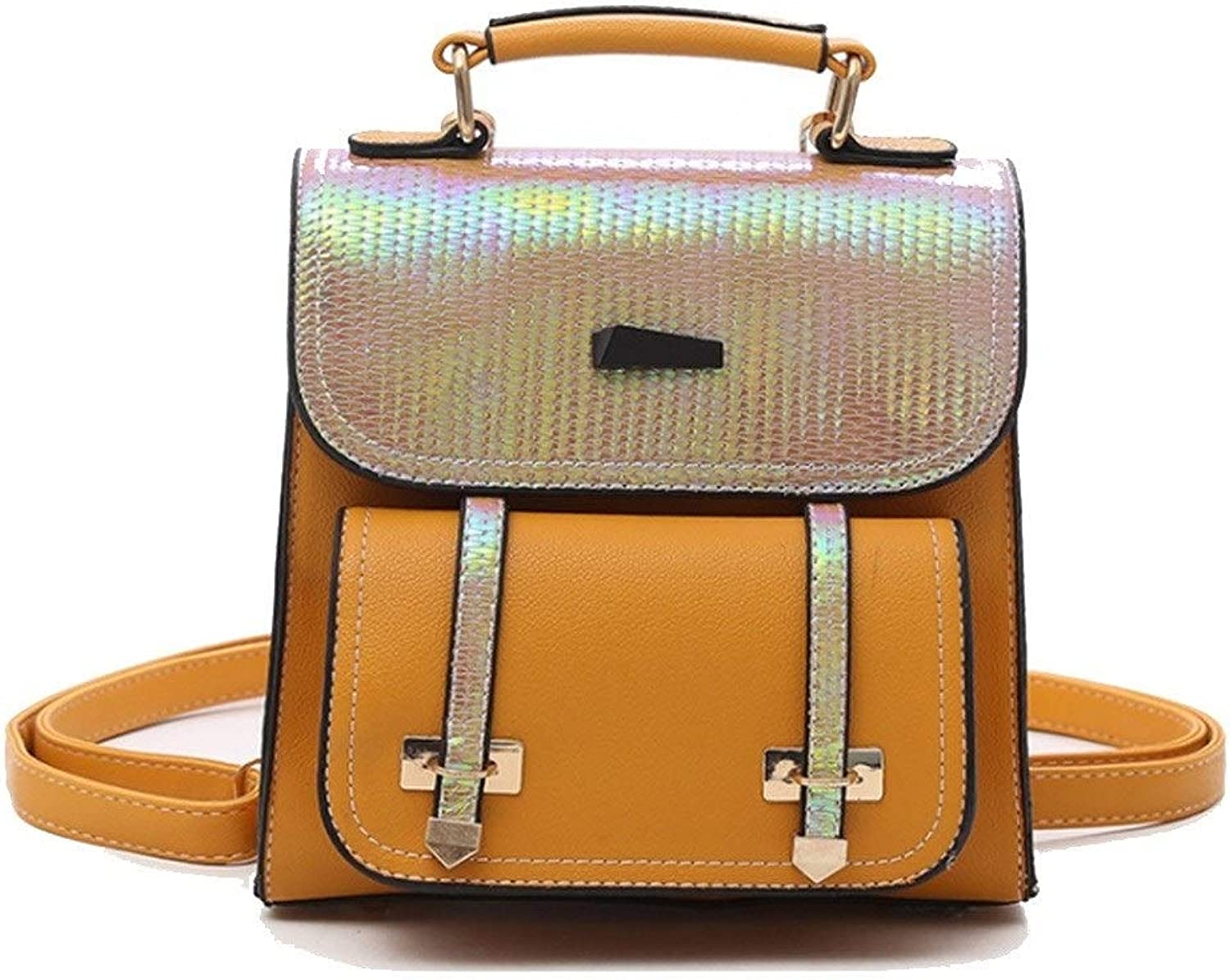 Centenarios Women's Fashion Sequined Square Portable Backpack (color   Yellow)