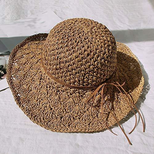 Foldable and Adjustable Bowler Hats Fashion Hawaiian Straw Hat Sun Hat Cute Lady Sun Hats Bow Hand Made Lady Straw Cap Beach Big Brim Hat Casual Girls Summer Cap