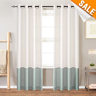 Colorblock Linen Curtains for Living Room Window Drapes and Curtains Grommet Top Faux Linen Bedroom Curtains 84 inches 2 Panels White x Spruce