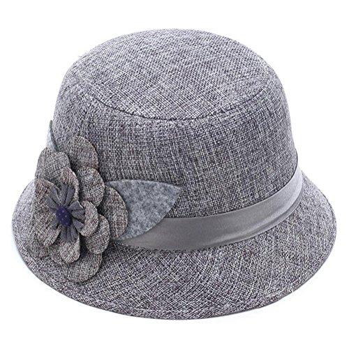 Topdo 1pcs Sombrero de Flor de Princesa de Lino de Las Mujeres 57cm, Lino, Gris, 57 cm