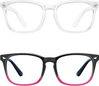 Blue Light Blocking Glasses - 2Pack Computer Game Glasses Square Eyeglasses Frame, Blue Light Blocker Glasses for Women Men, Anti Eye Eyestrain Reading Gaming Glasses Non Prescription