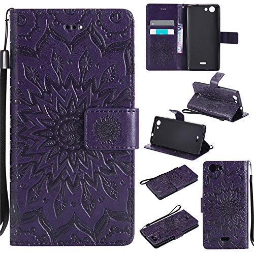 kelman Cáscara para ASUS ZenFone Go TV ZB551KL (5.5') Funda Cáscara 3D Girasol Moda PU Cuero+Suave Silicona TPU Billetera Tapa del tirón Cáscara - [Púrpura]