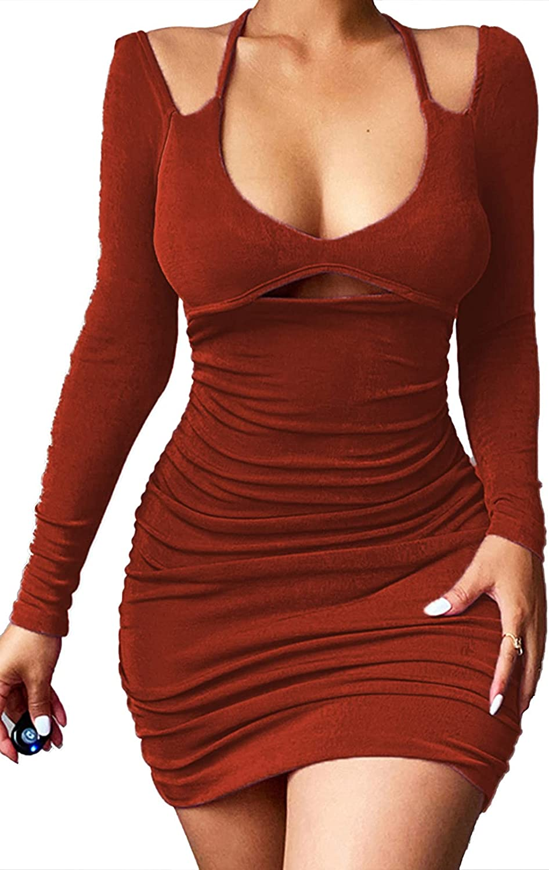 NRTHYE Women's Dresses Deep V Neck Ruched Long Sleeve Mini Bodycon Dress