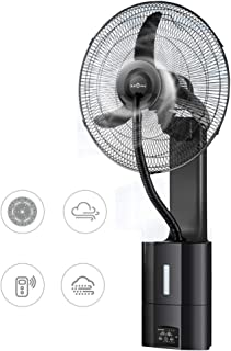 Ventiladores de pedestal Ventilador de pulverización montado en la pared, ventilador giratorio táctil de oscilación de 90 °, humidificación 3 velocidades con control remoto, para restaurante / ofici