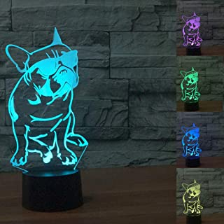 3D French Bulldog Dog Night Light Table Lamp Decor Table Desk Optical Illusion Lamps 7 Color Changing Lights LED Table Lamp Xmas Home Love Brithday Children Kids Decor Toy Gift