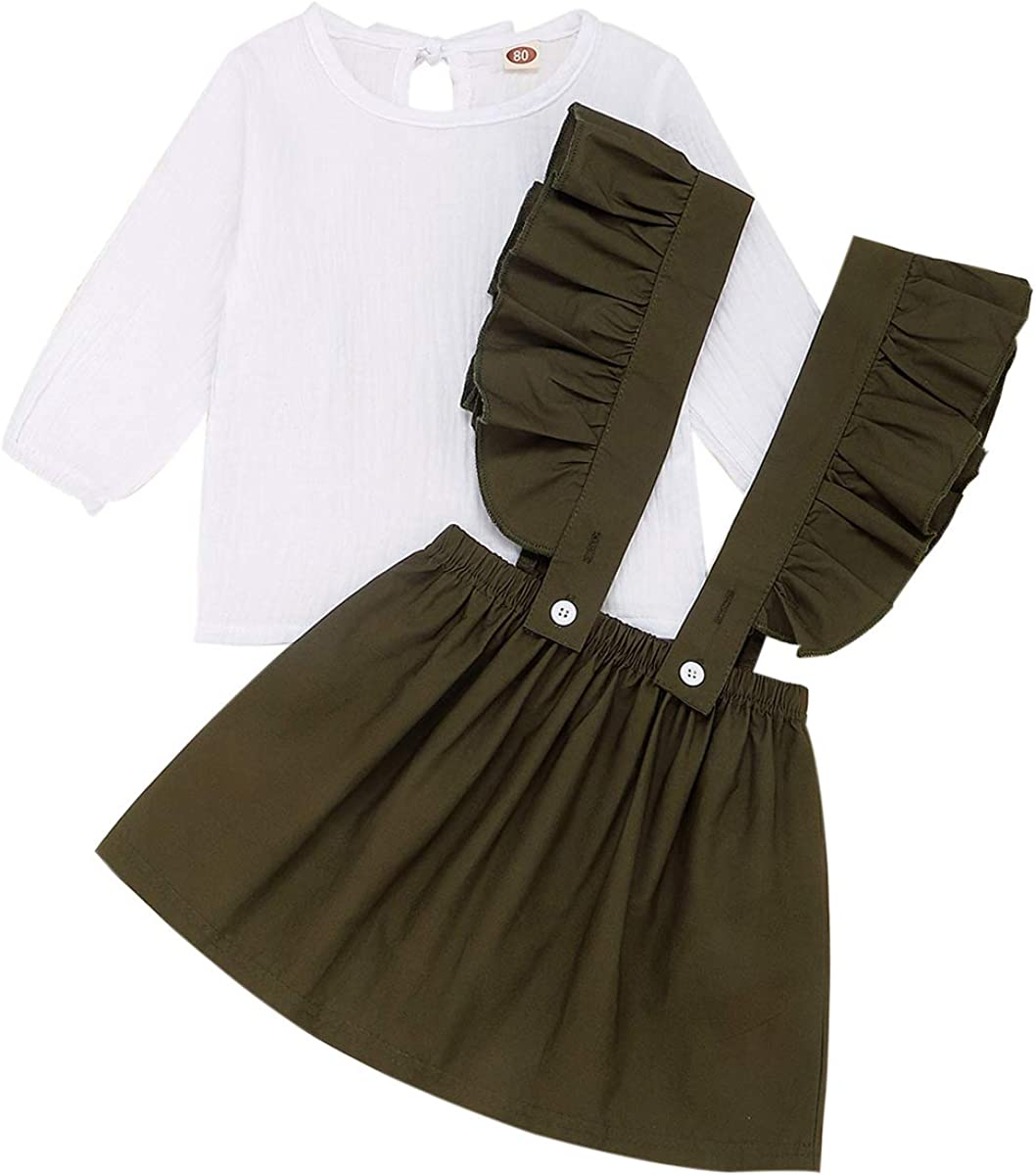 Baby Girl Skirts Sets Cotton Linen Long Sleeve Top+Ruffle Strap Suspender Dress Fall/Winter Outfits Set Clothes