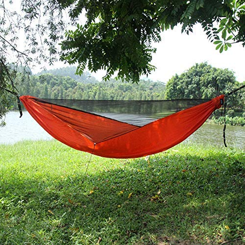 Camping hangmat Travel Bug Net camping hangmat |Portable Lichtgewicht Parachute Nylon Hangmat met riemen for backpacken, kamperen, reizen, Strand, Tuin Blue 290x140cm