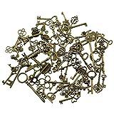 69 piezas Mezcla de Bronce Antiguo Esqueleto de La Vendimia Encantos Clave Diy Collar Colgante para Fabricación de Joyas Hechas A Mano (Bronce)