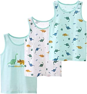 Amberetech 1-9T Baby Boys Tank Tops Pack of 3 Graphic Undershirts Sleeveless Tee Shirt Vest