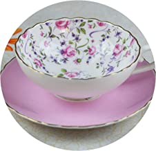 180ml Pastoral Style Flower Ceramic Bone china Coffee Set Cup and Saucer Kit Water Glass afernoon tea Milk Tea Mug Cup Drinkware,E