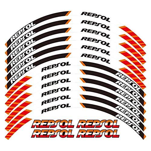 XIAOZHIWEN EIN Satz von 12 stücke Motorrad-Rad Abziehbilder wasserdicht reflektierende Aufkleber Rim-Streifen für alle Honda Repsol Universal (Color : A)
