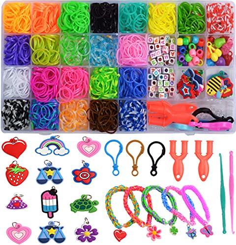 Veilhoho Gummibänder Starter Set Loom Bänder Armband Selber Machen Gummi mit Zubehör Bunte Gummiband für Armbänder DIY Basteln Geschenk für Kinder