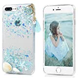 iPhone 7 Plus Case, iPhone 8 Plus Case, Beach Starfish Shower Seashell Design Transparent Clear Soft Flexible Gel Silicone TPU Bumper Slim Fit Shockproof Protective Cover for iPhone 7/8 Plus - Blue
