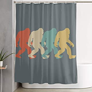 BHJ-YL Retro Bigfoot Sasquatch Elegant Polyester Shower Curtain Water-Repellent Shower Curtains Bathroom Sets for Home/Hotel Decor