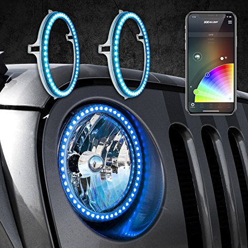 """7"""" RGB External Halo Ring for Jeep Headlight with XKchrome Smartphone App-Enabled Bluetooth and Switchback Enabled with Amber Turn Signal + White Daytime Running Light"""