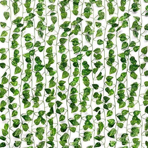 COCOBOO 12 Pack 84-Ft Silk Artificial Ivy Vines Leaf Garland Plants Fake Vine UV Resistant Green Leaves Hanging Wedding Garland Fake Foliage Flowers Home Kitchen Garden Office Wedding Wall Decor