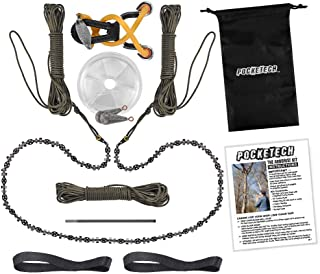 Pocketech The Hyperion Kit 48 Inch Long High Limb Hand Chain Saw - Blades on Both Sides so it Doesn't Matter How It Lands - Upgraded with 50% More Blades Cutting in Both Directions & on Both Sides