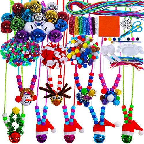 27 Sets Christmas Beaded Jingle Bell Necklace Jewelry DIY Craft kit Jingle Bell Pipe Cleaners pom-poms Beads Santa Hats…