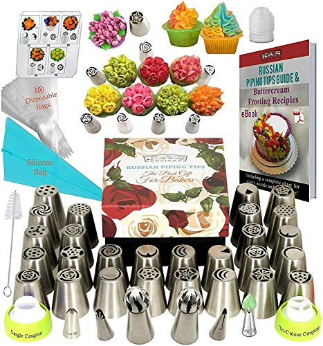 K&S Artisan Russian Piping Tips Set DELUXE Cake Decorating Tips 33 GENUINE Icing Nozzles Easy to Use For Cupcake Decorating- 2 Ball Tips 3 Couplers) 30 Frosting Bags Pattern chart, Ebook User Guide