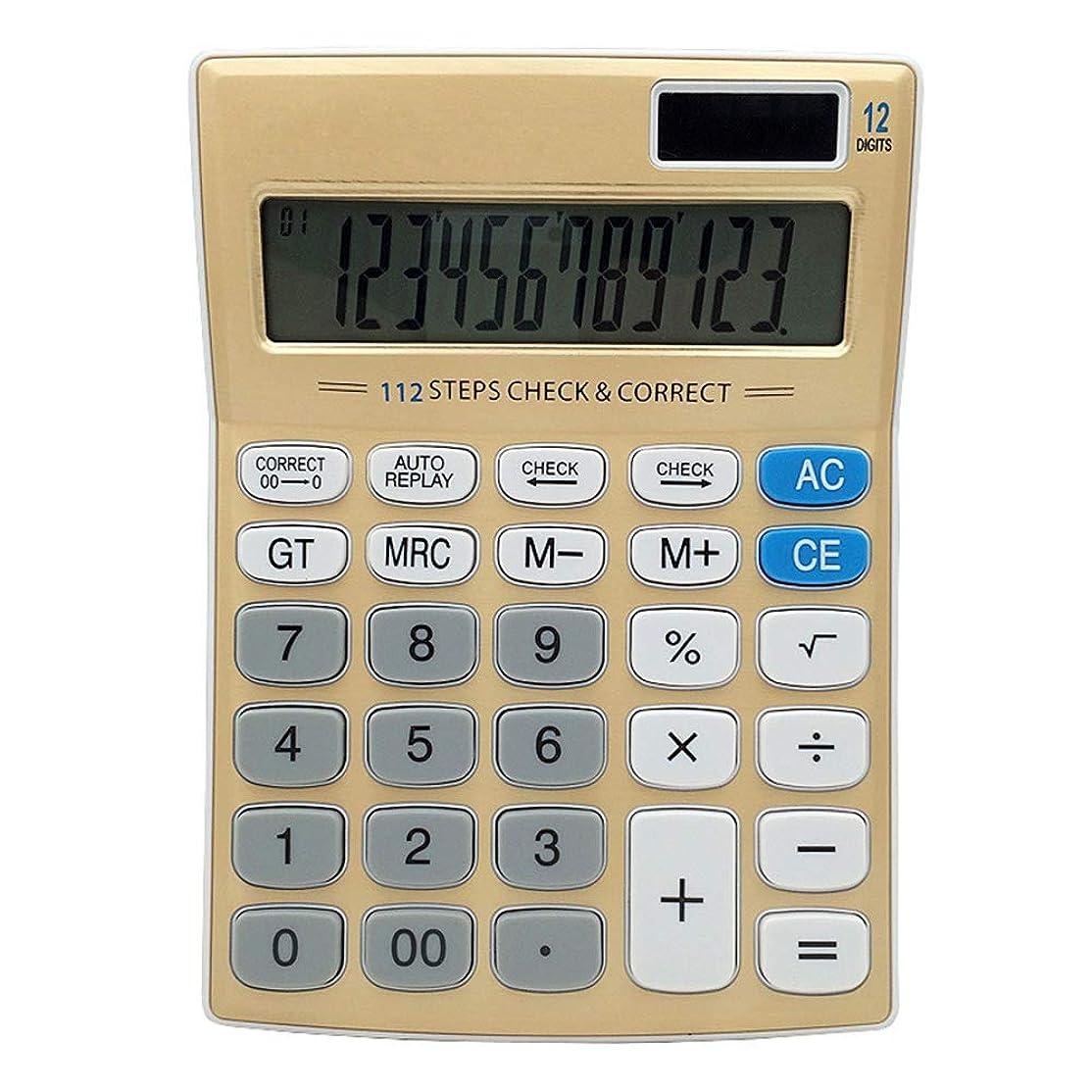 気候露骨な医療のMengshen 実務電卓 デスクタイプ 12桁 ジャストタイプ 大画面 ゴールド KA05