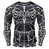 Nessfit - Felpa termica da uomo a maniche lunghe a compressione, con strato base, da palestra, Venom, L