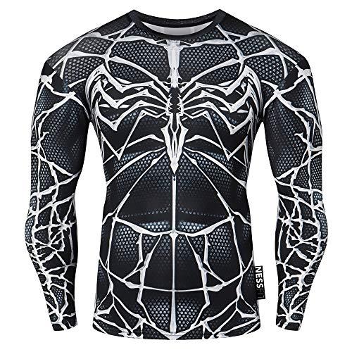 Nessfit Superhero - Camiseta térmica de compresión para hombre, manga larga, capa base de entrenamiento, camiseta de entrenamiento (venom, mediana)