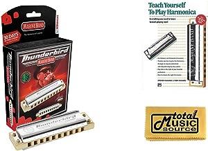 HOHNER Marine Band THUNDERBIRD Harmonica w/ Case, Key LOW F, Germany, Case & Book, M2011L-F BK