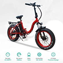 vtuvia Folding Electric Bike 20 Inch Fat Tire City Mountain E-Bike for Adults Men&Women 500W Motor 48V 12AH Removable Lithium-Ion Battery LCD Screen Beach Cruiser E-Bicycle