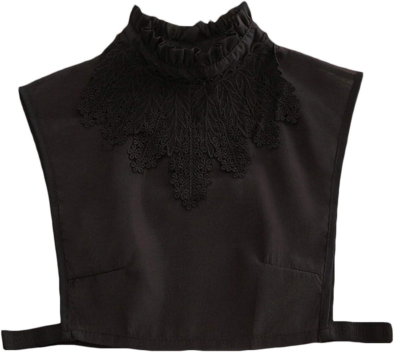 LERTREE Detachable False Shirt Collar Ruffles Lace Collar Half Shirt False Collar for Women Lady Girls (Black)