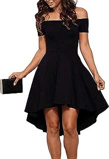 Women Dinner Skirt Off The Shoulder Short Sleeve High Low Hem Club Cocktail Skater Dress