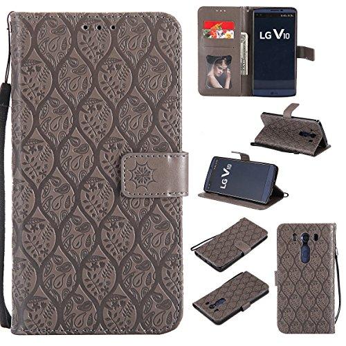 FQY-TEC LG V10 Hülle / H960A Hülle, [Grau] T[PU-Leder]und[TPU] Geldbörse,Kartensteckplatz,Unterstützung Hülle für LG V10 (5.7