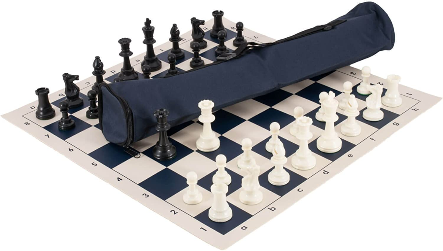 The House of Staunton, Inc. Quiver Chess Set Combination  Triple Weighted  by US Chess Federation (Navy)