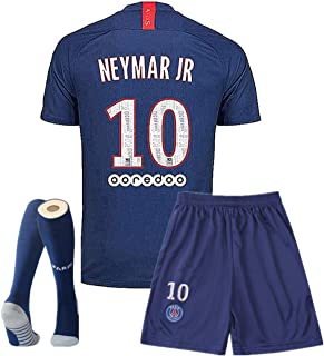 #10 Neymar Paris St Germain 19-20 Home Kids Or Youth Soccer T Shirt and Shorts and Socks Blue