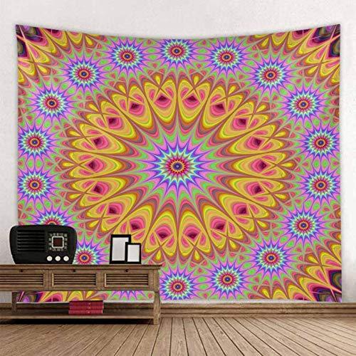 ZWBBO Tapijt, mintgroen, koningsblauw, Mandala-tapijt, psychedelisch wandtapijt, Boheemse wandtapijt, bloemenmotief, strandlaken (130 x 150 cm)