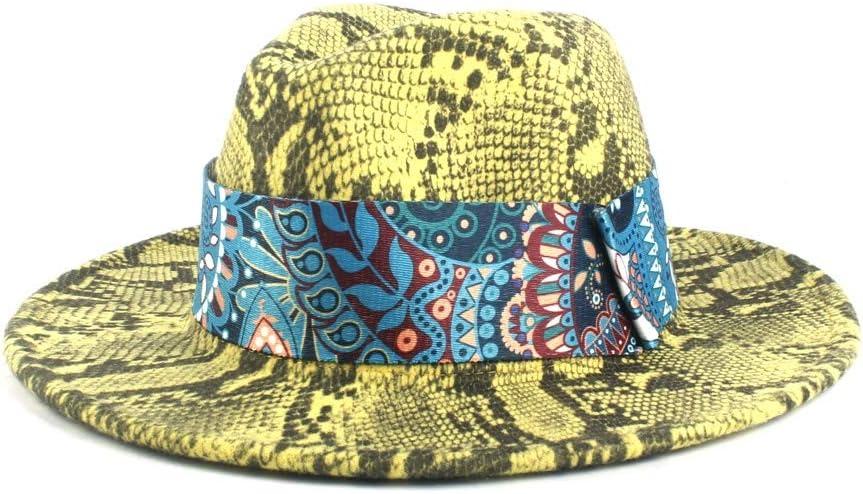 LHZUS Hats Women's Wool Fedora Hat Lady Autumn Winter Jazz Hat Church Hat Wide Ribbon Decorative Wide Jazz Hat (Color : 5, Size : 56-58cm)
