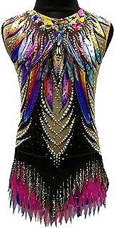 新体操レオタード 体操競技レオタード 女性用 女の子 ブラック スパンデックス 高通気性 手作り 宝石で飾られた ダイアモンド調 ノースリーブ 訓練 ダンス