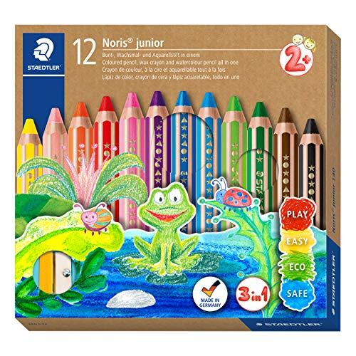 STAEDTLER 140 C12 3in1 Buntstift Noris junior (Bunt-, Wachsmal- und Aquarellstift, extra bruchsicher, ideal für Kinder, für viele Oberflächen, Kartonetui mit 12 Farben inkl. Spitzer)