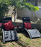 PURPLE LEAF Patio Chaise Lounge Set of 3 Outdoor Lounge Chair Beach Pool Sunbathing Lawn Lounger Recliner Chiar Outside Tanning Chairs with Arm for All Weather, Side Table Included, Black